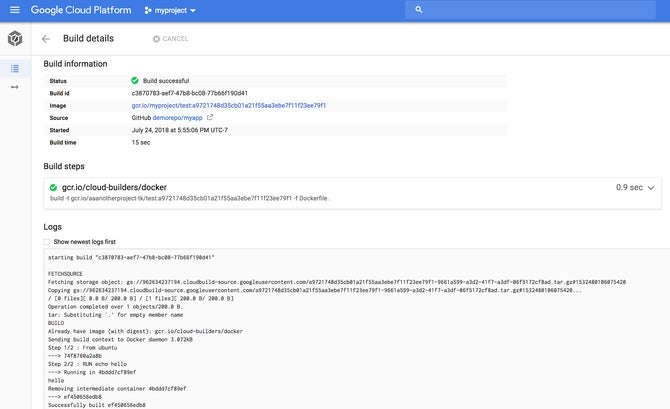 Google Cloud Build screenshot