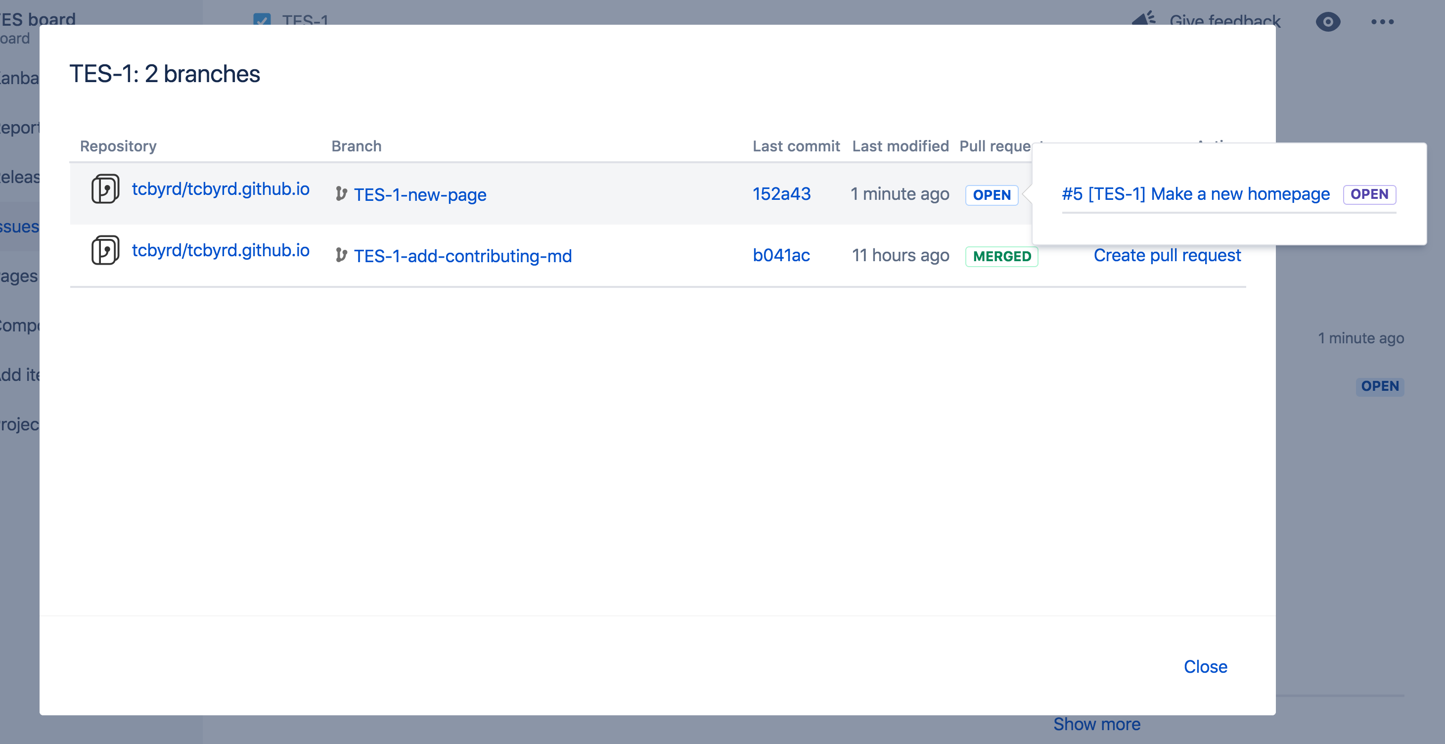 Jira Software + GitHub screenshot