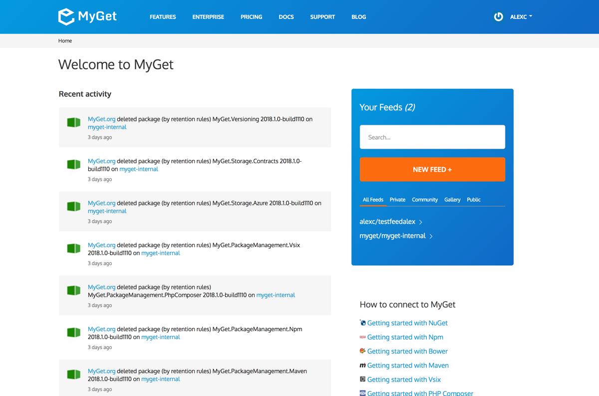 MyGet screenshot